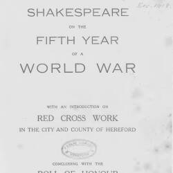 Shakespeare on the fifth year of a World War with calender for 1919