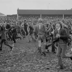 The fans celebrate Hereford United's 2–1 victory by storming the pitch. February 5th 1972 at Edgar Street, Hereford. Hereford United's victory over Newcastle United is generally considered the greatest FA Cup shock of all time.