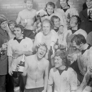 February 5th 1972 at Edgar Street, Hereford. The team celebrate Hereford United's 2–1 victory over Newcastle United, which is generally considered the greatest FA Cup shock of all time. It was the first time a non-league club had beaten a top-flight club in a competitive fixture since 1949.