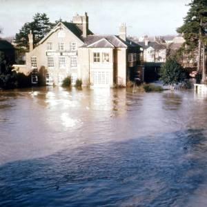 River Wye, Greyfriars Restaurant in flood, Hereford, 1968