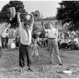 Weight-lifting at Michaelchurch Escley fete.