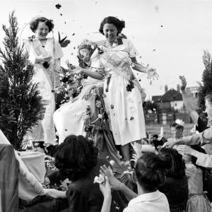 Floral princesses being greeted with a shower of petals