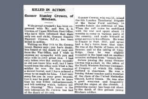 Newspaper Extract regarding the death of Stanley Crewes