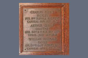 Memorial Plaque - Bickley, Chastney, & Davies