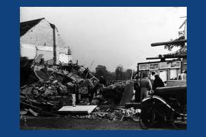 Bomb damage to houses in Marina Avenue, West Barnes