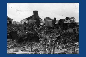 Damage caused by a V1 Flying bomb, St Helier Estate, Morden