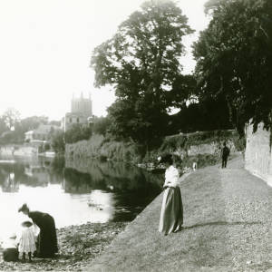 River Wye and Cathedral from below hospital walls, Hereford