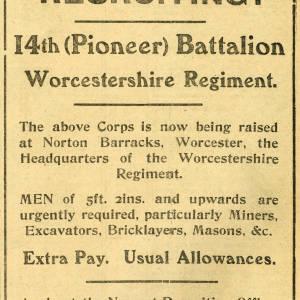 Recruiting - 14th (Pioneer) Battalion Worcestershire Regiment