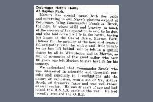 Newspaper Extract - Frank Arthur Brock