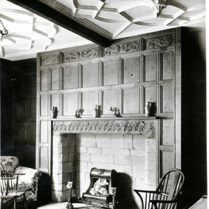Green Dragon old fireplace and ceiling, Hereford