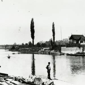 River Wye and railway bridge, from Wye bridge, Hereford