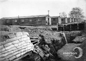 Accommodation huts and trenches, Wimbledon army camp
