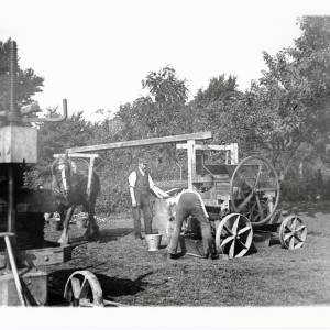 Cider making with portable machinery