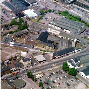 Commercial Road, Hereford, aerial view, 1978