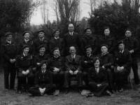 Members of the Mitcham Air Raid Patrol, pictured at their headquarters