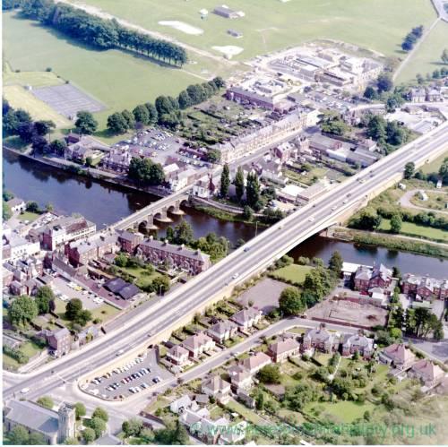 River Wye Bridges in Hereford, aerial view c1976