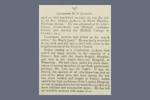 London Hospital Gazette 1917 Extract - Henry Stewart Jackson