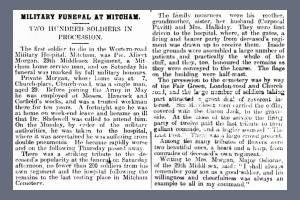 Newspaper Extract regarding the death of Albert Morgan