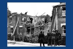 Bomb damage to houses in High Path, South Wimbledon