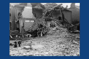 Bomb damage in Inglemere Road, Mitcham