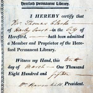 Hereford Permanent Library - Membership Certificate No20 - Mr Thomas Clarke - 10th of March 1815