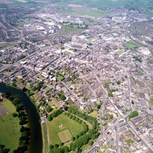 Aerial view of Hereford City, 1978