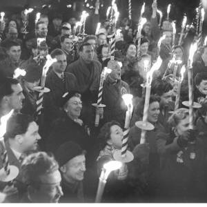 Polling in the 1958 election finished, and the end of the campaign was celebrated in the traditional way – with a torchlight procession.