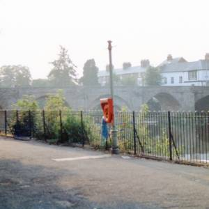 River Path looking at Old Bridge, Hereford, c1990
