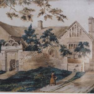 Barnes Hall - watercolour of old building.