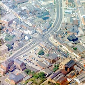 Commercial Crossroads, Hereford, aerial view c1976