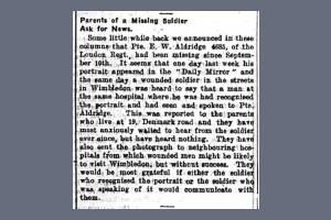 Newspaper Extract - Ernest William Aldridge