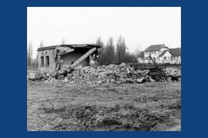 Demolition of gun site on Mitcham Common