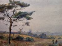 Watercolour featuring the windmill, Wimbledon Common