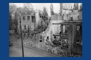Bomb damage to Colour Printers, Morden Road, Mitcham
