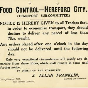 Food control poster, Hereford City, 1917