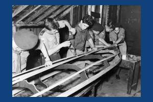 Scouts build canoes at Mill House, Mitcham