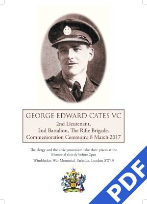 George Cates VC commemorative Order of Service