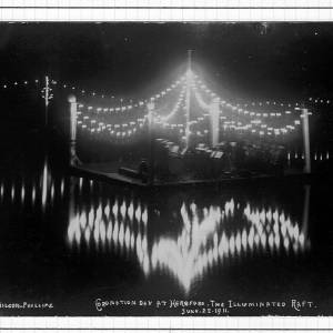 Coronation day, the illuminated raft on the River Wye at Hereford, 22nd June 1911