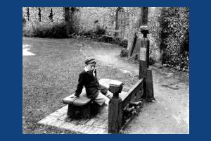 Kenneth Francis pictured in the stocks as Lewis Castle