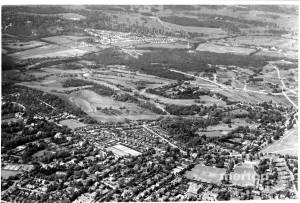 Aerial view over Wimbledon and the Common